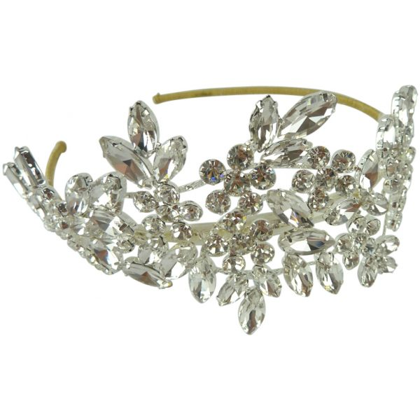 large side crystal wedding headpiece