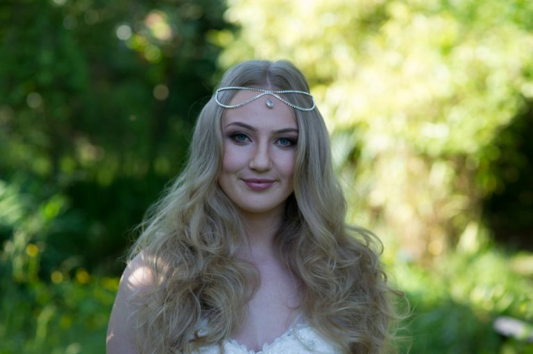 draped head chain with pear drop from on boho styled bride