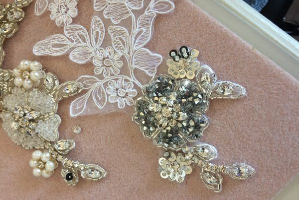 Sewing a bespoke wedding headpiece