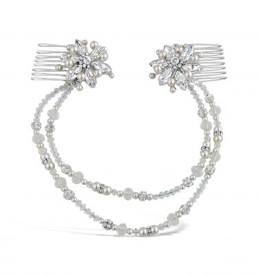 A crystal and pearl 2 row wedding hairvine