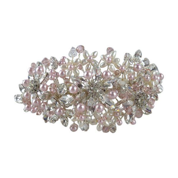 Wedding headband in pale pink blush
