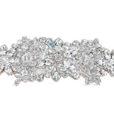 Handbeaded crystal bridal applique