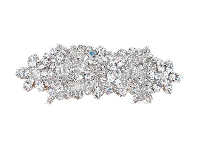 Handbeaded crystal bridal applique