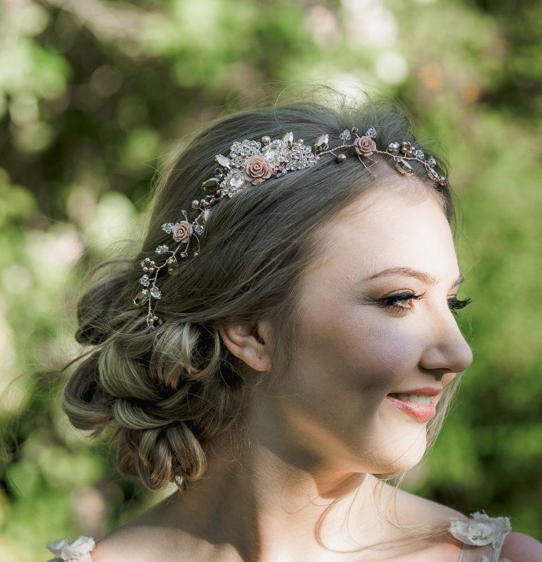Rose gold floral bridal hairvine on bride