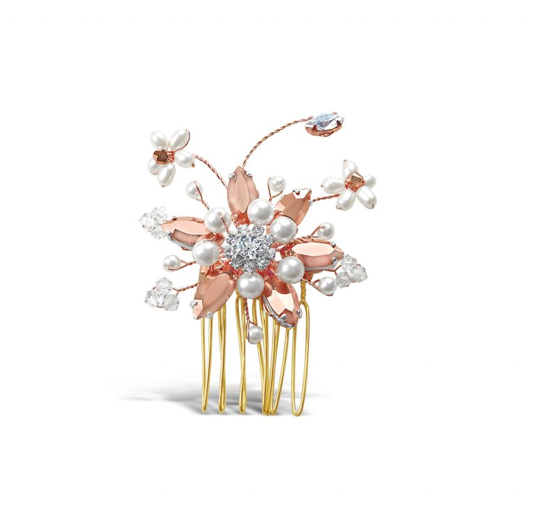 small rose gold flower hair comb