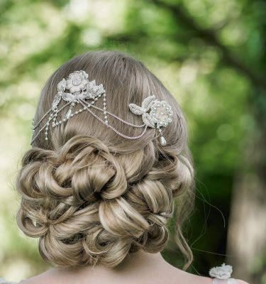 beaded bridal headpiece in blush colours
