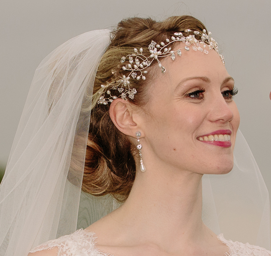 pearl and crystal wedding hairvine on real bride