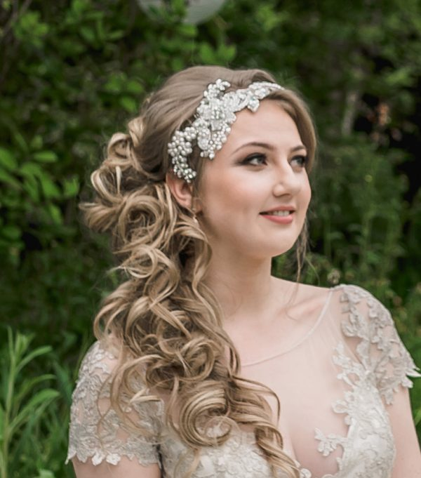 Handbeadd lace bridal headpiece