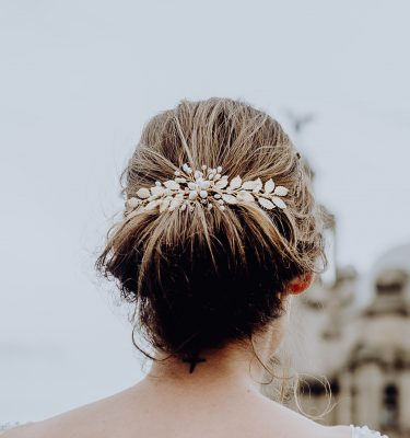 Gold leaf bridal vine comb