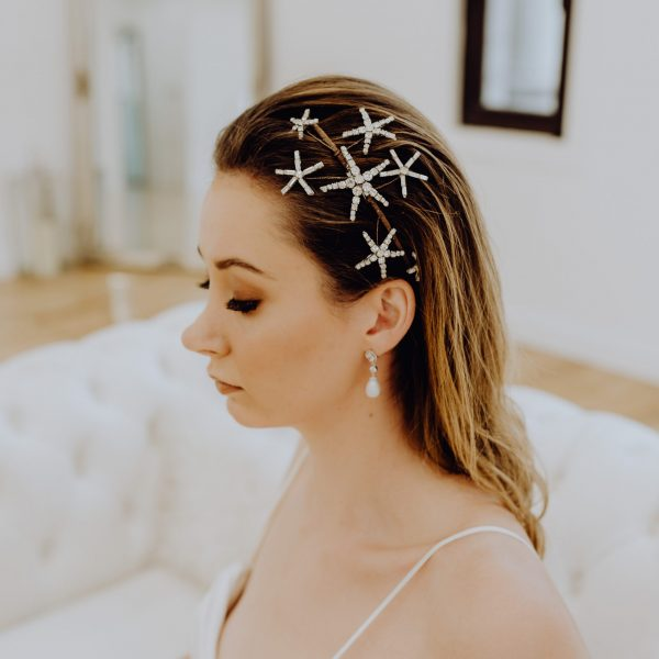Wedding headpiece with crystal stars on the side