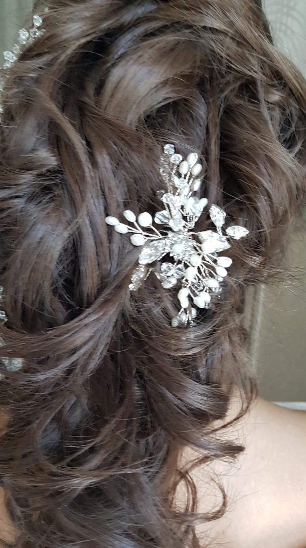 Pearl and crystal bridal comb in brides hair from rocksforfrocks