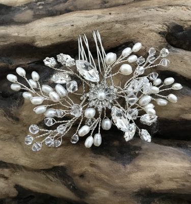 Pearl and crystal bridal comb hand made from rocksforfrocks