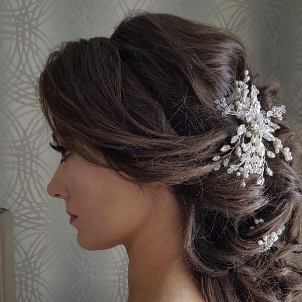 Pearl and crystal bridal haircomb